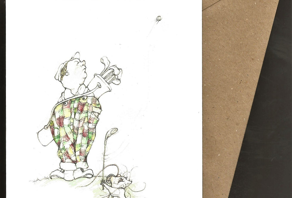 Baggy trousers golfing greeting card for him - pen and ink design by Robert Askew