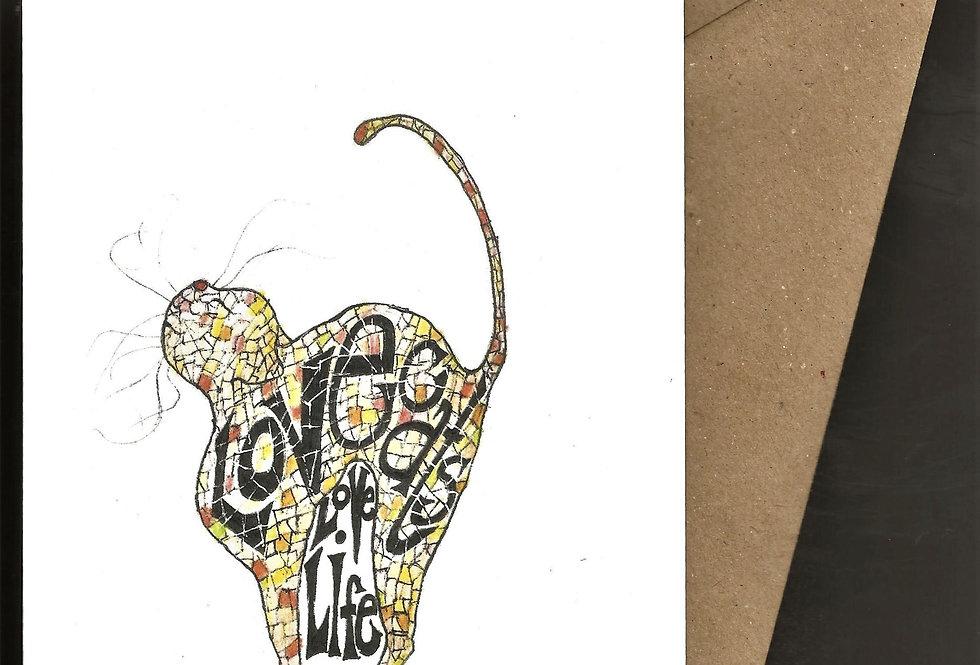 Happy cat pen and ink design by Robert Askew