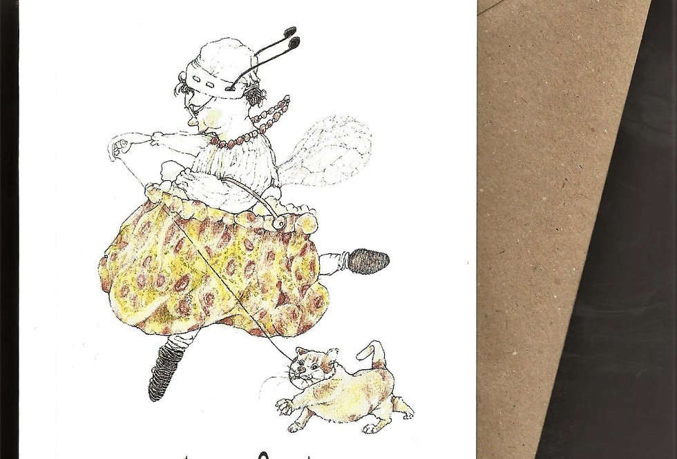 Fairy with carpet handbag and cat -pen and ink design by Robert Askew