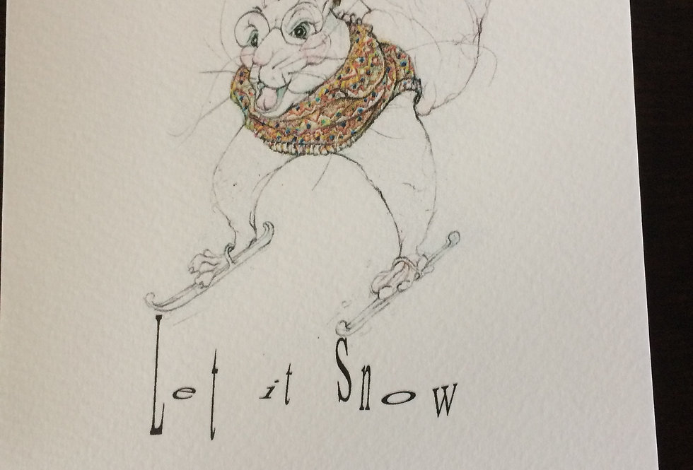 Squirrel on skis wearing hat and jumper- pen and ink design by Robert Askew