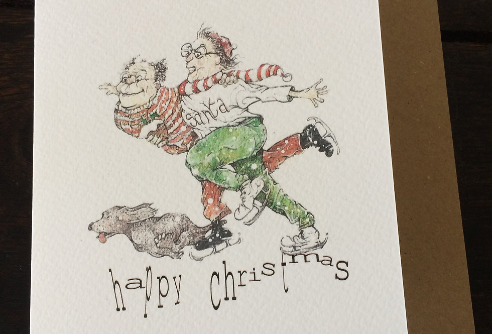 Christmas jumpers, scarves and skating with the dog- pen and ink design by Robert Askew