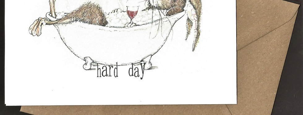 Hare relaxing in claw foot bath with a glass of wine- pen and ink design by Robert Askew