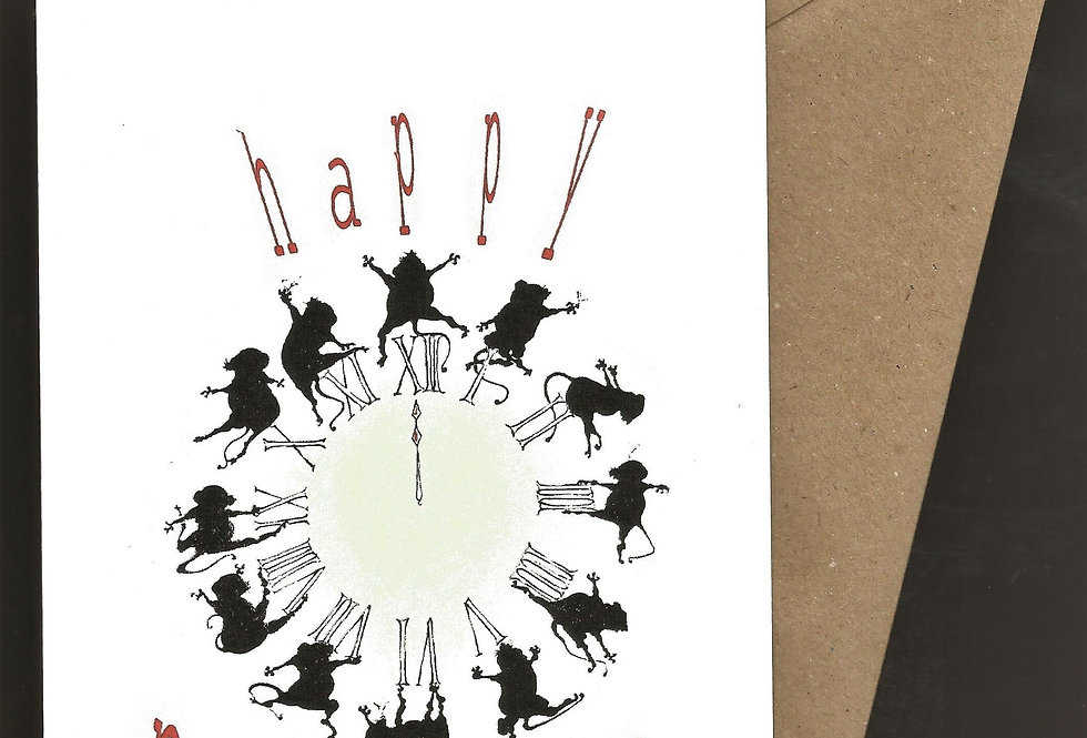 12 mice in silhouette around a clock face- pen and ink design by Robert Askew