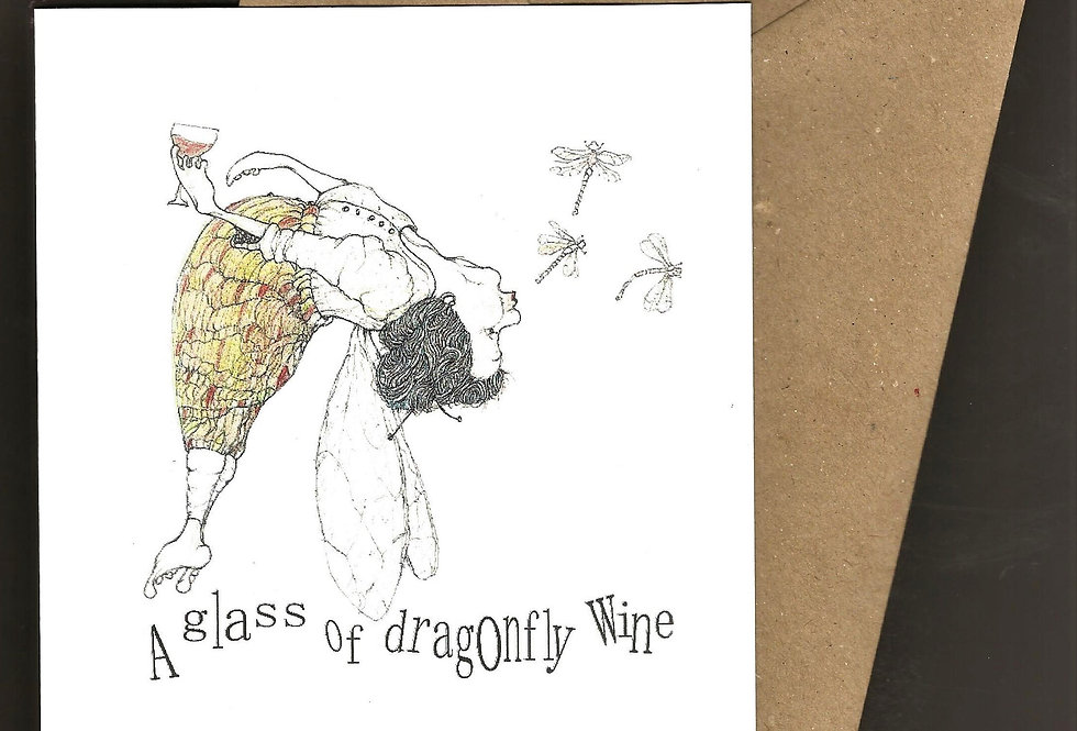 Lady dragonfly with wine - pen and ink design by Robert Askew