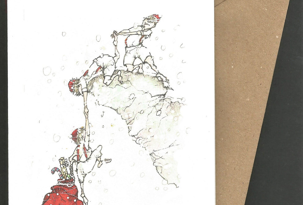 Santa's sack and mountaineering- pen and ink design by Robert Askew