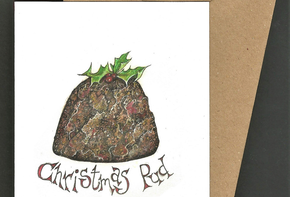 Christmas Pudding- pen and ink design by Robert Askew