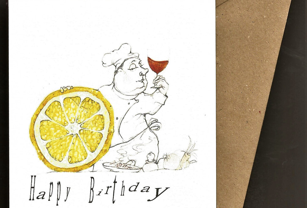 chef in whites with lemon and wine greeting card- pen and ink design by Robert Askew