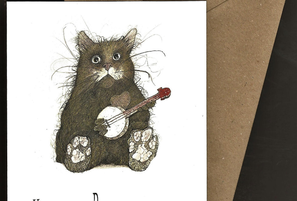 Cute cat playing the banjo greeting card - pen and ink design by Robert Askew