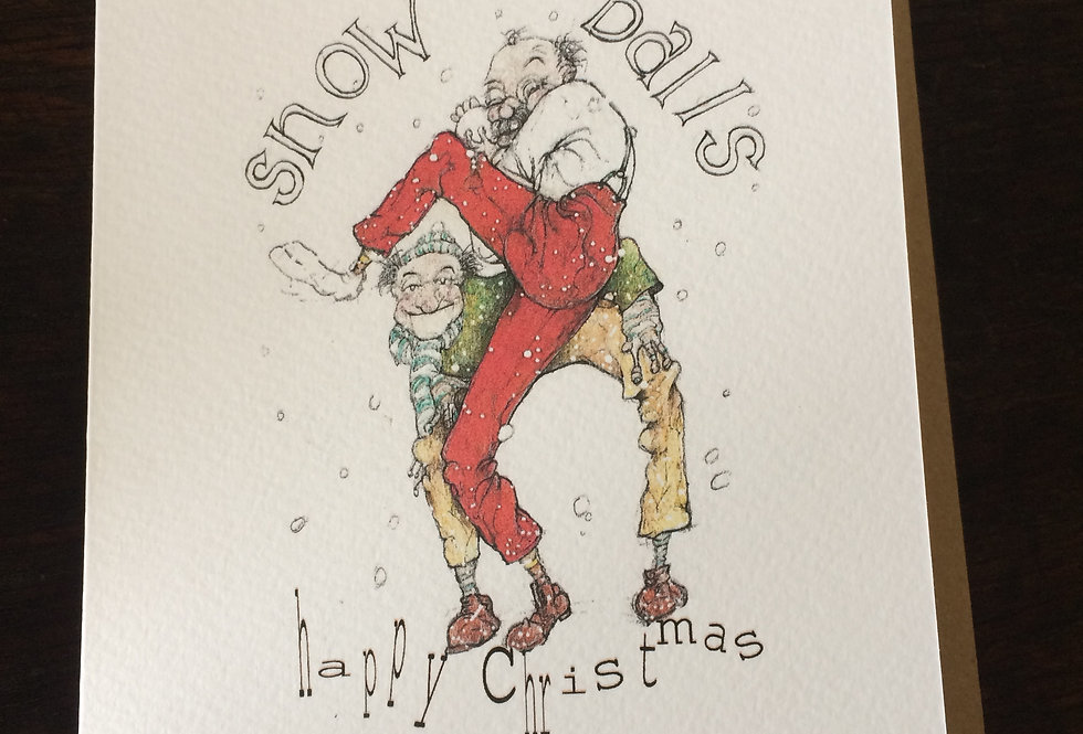 Old codgers playing cricket with snowballs- pen and ink design by Robert Askew
