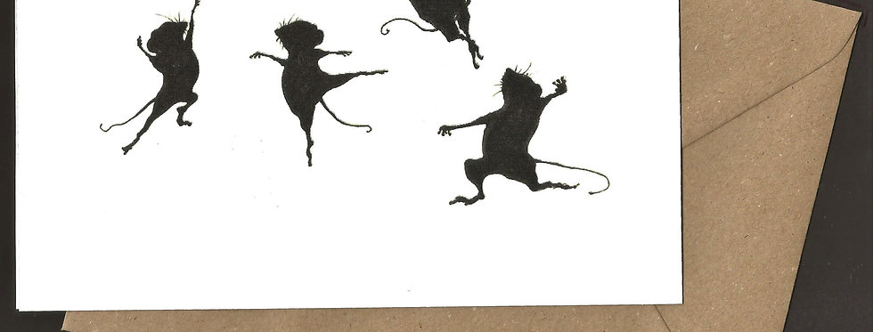 Ballet mice leaping silhouette - pen and ink design by Robert Askew