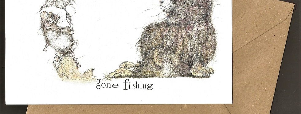 Fat cat fishing pen and ink design by Robert Askew