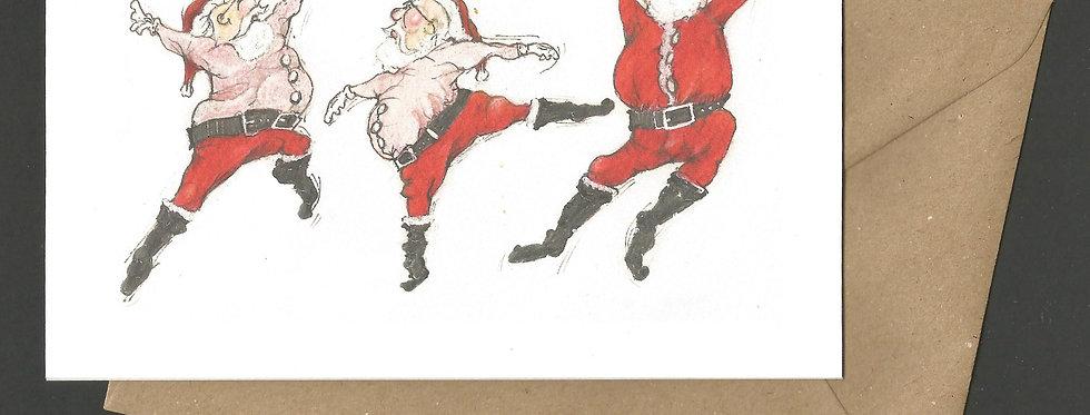 Dancing leaping Santa's- pen and ink design by Robert Askew