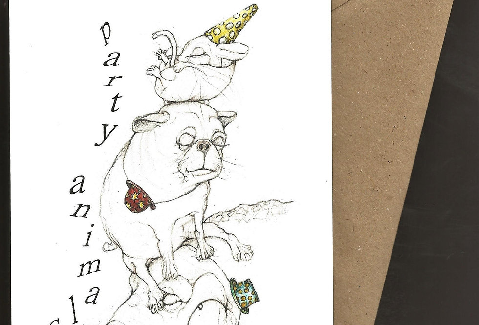 A pile of animals in party hats greeting card- pen and ink design by Robert Askew