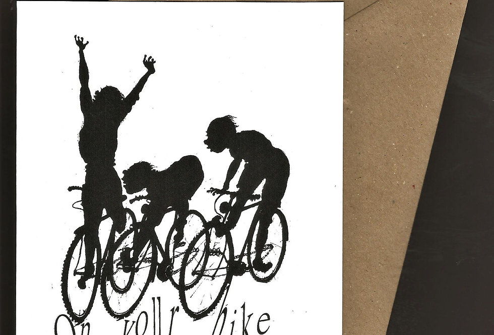 Competitive cyclists- pen and ink design by Robert Askew