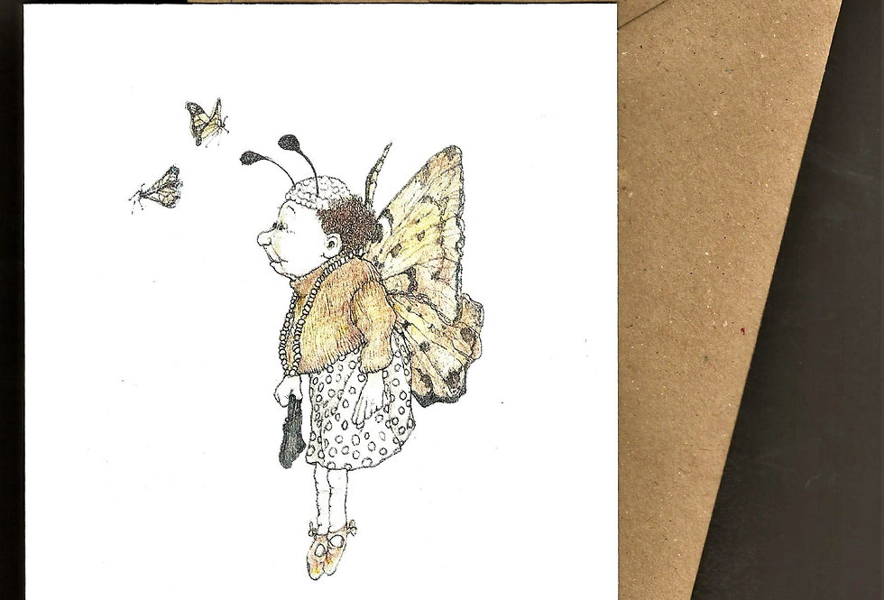 Lady butterfly with handbag -pen and ink design by Robert Askew