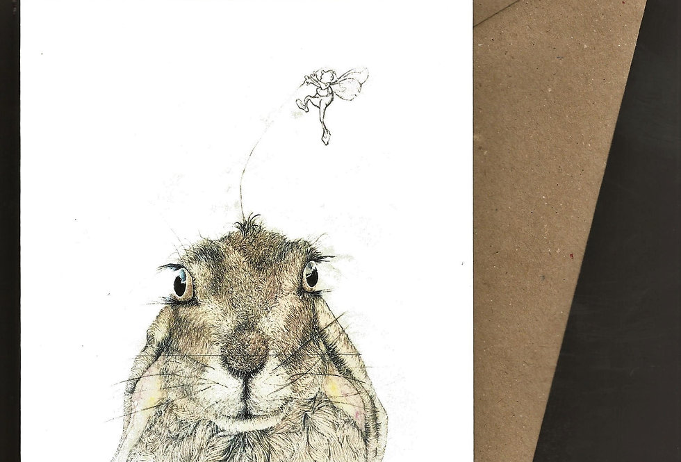 Hare head with fairy -pen and ink design by Robert Askew