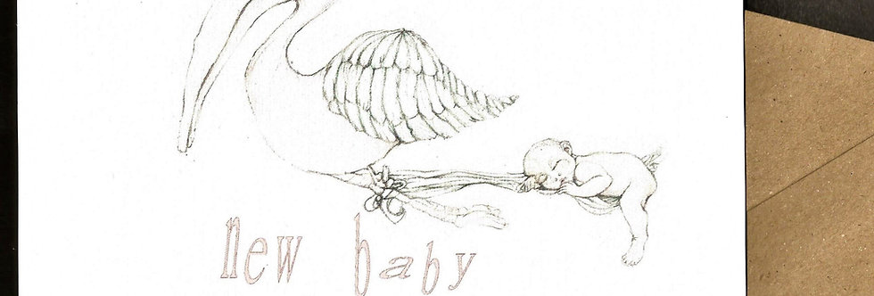 stork carrying naked sleeping baby- pen and ink design by Robert Askew