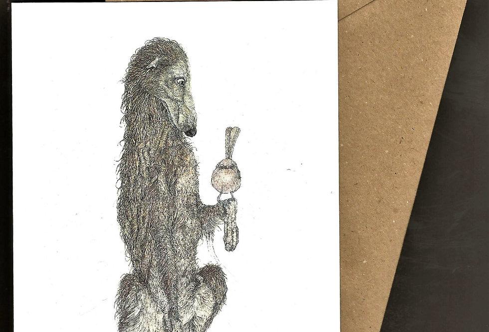 Deerhound with little bird -pen and ink design by Robert Askew