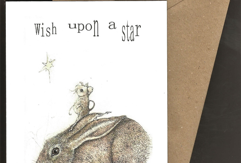 Hare, mouse and star twinkling -pen and ink design by Robert Askew