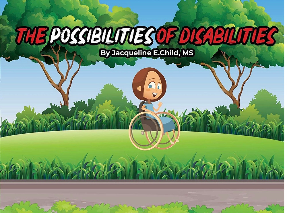 cartoon character in her wheelchair with disability