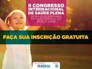 Inscrições gratuitas para o II Congresso Internacional de Saúde Plena