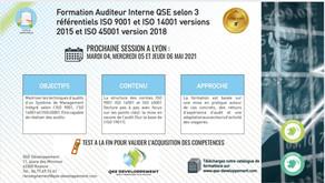 Formation d'auditeur interne QSE à LYON les 4,5 et 6 Mai 2021
