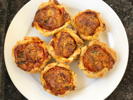 Tomato, Egg and Sausage Puff Pastry Tartlets