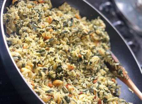 Spinach and Cashew Savory Rice