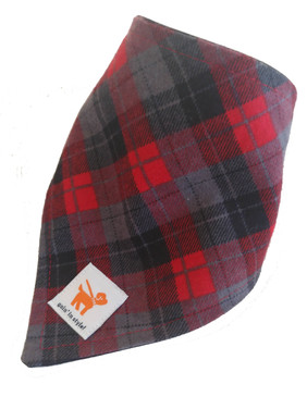 Red and Grey Plaid Bandana