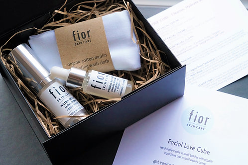 facial love cube gift set, cleanse, hydrate and nourish