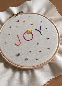 A student's finished 'Joy' Hoop