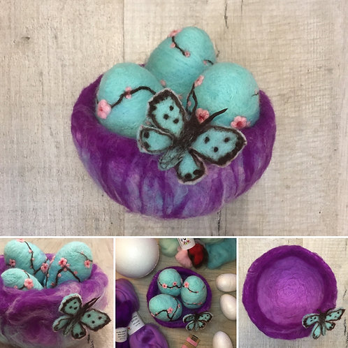 Blossom Eggs and Butterfly Bowl | Needle Felting Kit