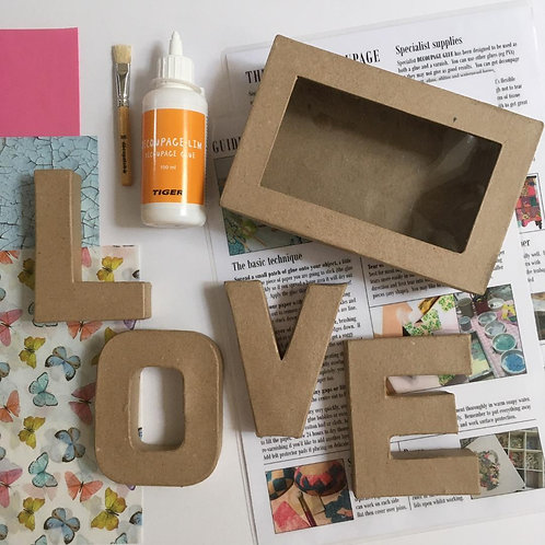 LOVE in a box small mache letters Kit