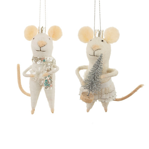 King and Queen Mouse Hanging Felt Decoration (Set of 2)