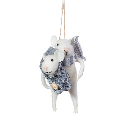 Mum and Baby Mouse Hanging Felt Decoration