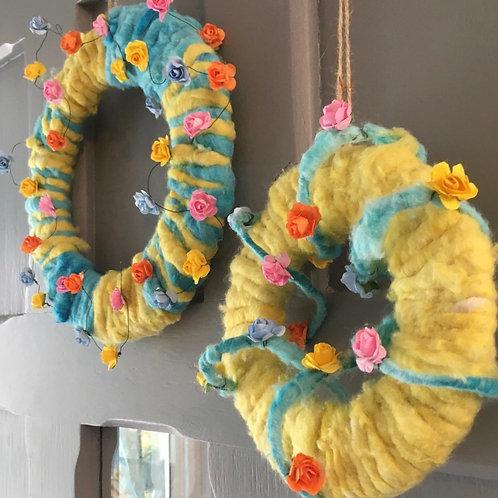 Felt and Roses Wreaths (Set of 2)