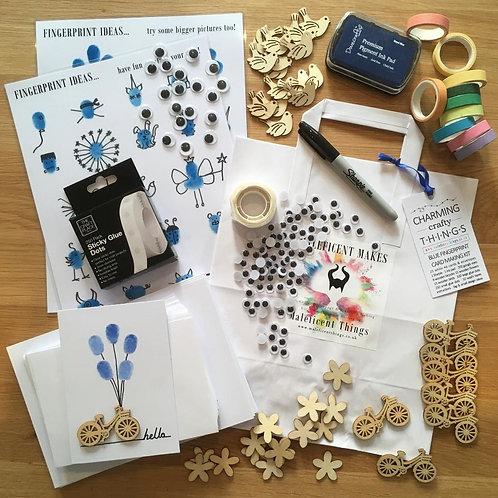 Fingerprint Art: Blue Card Making Kit