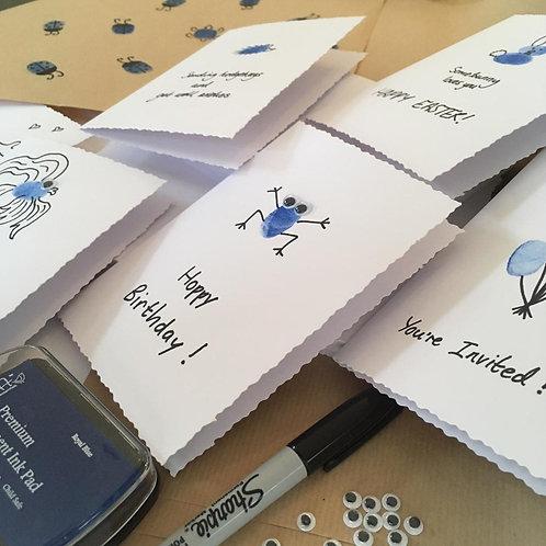 Fingerprint Art: Blue Cards and Wrap