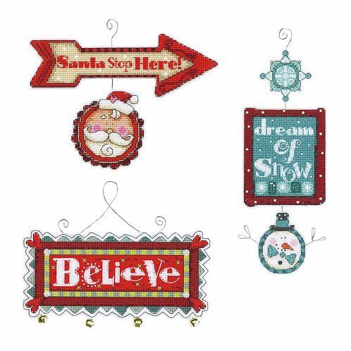 Counted Cross Stitch Ornaments: Whimsical Signs
