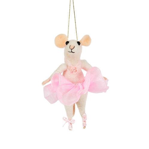 Ballerina Mouse Hanging Felt Decoration