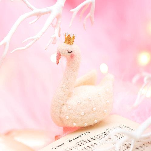 Swan Queen Hanging Felt Decoration