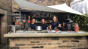 Emma, Abi and Holly preparing the new bar