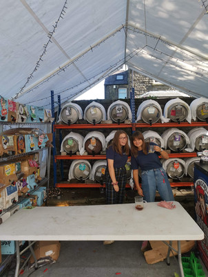 Abi and Emma loving the cider and keg tent