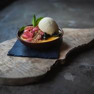 Rhubarb and custard brulée