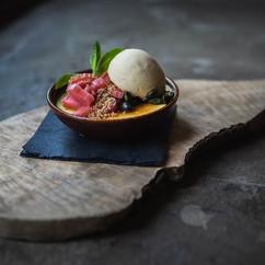Rhubarb and custard brulée, pistachio, stem ginger candy 🍬. Part of our seasonal menu. .