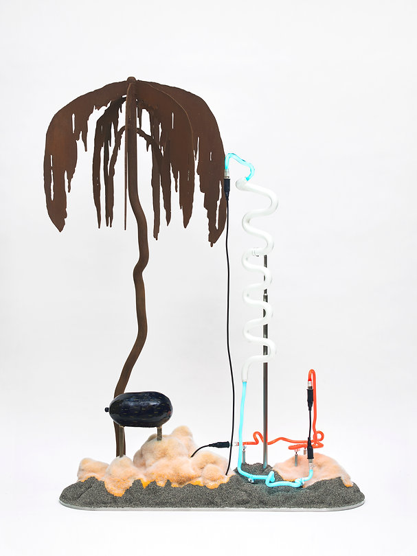 Mint Float sculpture bronze neon light lamp Whitechapel Gallery London Open exhibition