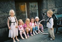 Paula Cullison - Denmark Copenhagen  Children at the Bus Stop 1.3MG 0089416-R1-0