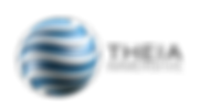 Theia Immersive Company Logo. Satin Aqua Blue Globe with White, Sweeping, slightly Curved Lines running horizinally around the globe