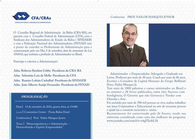 CRA promove palestra no dia 14/9 em comemoração ao Dia do Administrador