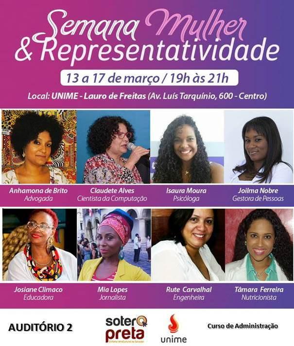 Semana Mulher & Representatividade na UNIME: de 13 a 17 de março, das 19h às 21h